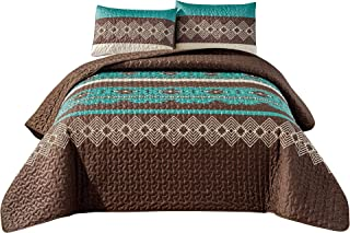 WPM WORLD PRODUCTS MART Southwest Teal/Beige/Brown Print Bedspread 3 Piece Navajo/Native American Tribal Design Microfiber...
