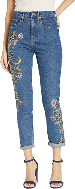 Ornate Floral Embroidered Denim Girlfriend Jeans
