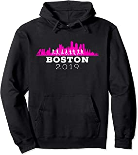 Boston 2019 Skyline Marathon Shirt - Hoodie - Pink