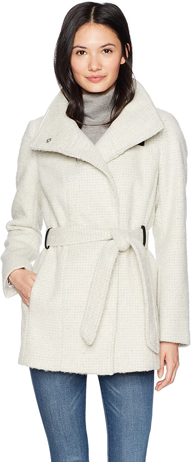 Cole Haan Womens Faux Striccato Wool Funnel Collar Belted Coat Wool Coats
