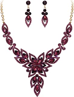Women's Costume Fashion Crystal Hollow Flower Marquise Statement Necklace Dangle Earrings Set
