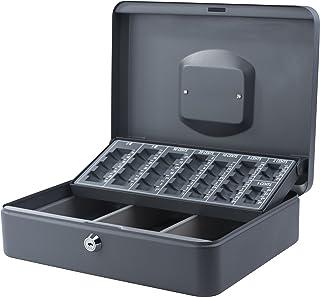 Pavo Caissette à monnaie en acier avec trieur à monnaie Gris foncé - 30 x 23.8 x 9 cm