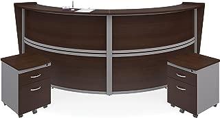 OFM Marque Series Double-Unit Curved Reception Station - Office Furniture Receptionist/Secretary Desk with Two Walnut Pedestals (PKG-55292-WALNUT)