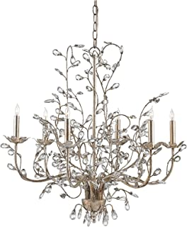 Currey and Company 9973 Crystal Bud - Six Light Medium Chandelier, Silver Granello Finish with Clear Crystal
