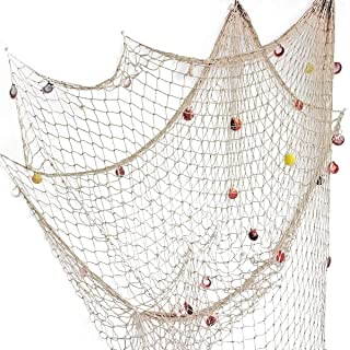 Rosoz Nature Fish Net Wall Decoration with Shells, Ocean Themed Wall Hangings Fishing Net..