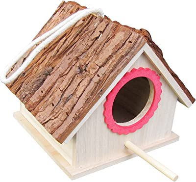 FITOOL Tree Bark Roof Bird House for Blue Tit, Lark, Sparrow, Assembled(Ready to USE), Wild Bird Nesting Box for Wren and Chickadee Species