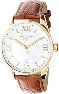 Swiss Legend Men's Belleza Analog Swiss Quartz Watch White Dial and Gold Stainless Steel Case with Brown Leather Strap 22012-YG-02-BR