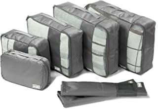 Coolife Packing Cubes Travel Organizers with Laundry Bag 7 Set Hanging Toiletry Bag Portable (gray)