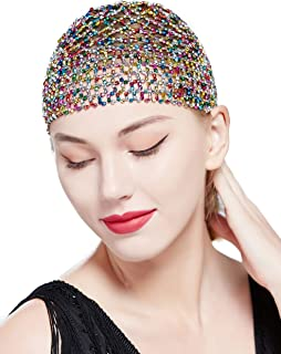 BABEYOND 1920s Beaded Cap Headpiece Belly Dance Cap Exotic Cleopatra Headpiece for Gatsby Themed Party (Colorful)