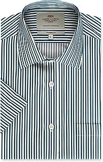 Mens Navy & Yellow Multi Stripe Tailored Fit Shirt - Short Sleeve
