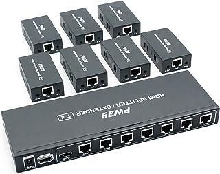 PW HTS0107IR(POC) 1X7 Port HDMI Splitter Extender/Verteiler Ultra HD 1080P Ohne Verzögerung 60m über CAT6 Kable Unterstützt EDID and IR(1 In 7 Out)