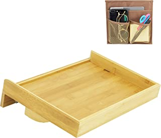 Bamboo Bedside Shelf 9.8X13.7 (35x25cm) with a Hanging Storage Bag -Nightstand Organizer for Bunk Beds, Headboards, College Dorms