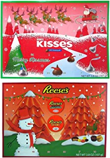 1 Hershey Milk Chocolate Kisses, 1 Reeses Peanut Butter Cups and Pieces Candy Filled 2019 Holiday Advent Calendar, Countdown to Christmas, 13 3/4 Inch Each - Set of 2