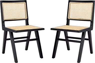 Safavieh Couture Home Hattie Black and Natural French Cane Dining Chair, Set of 2