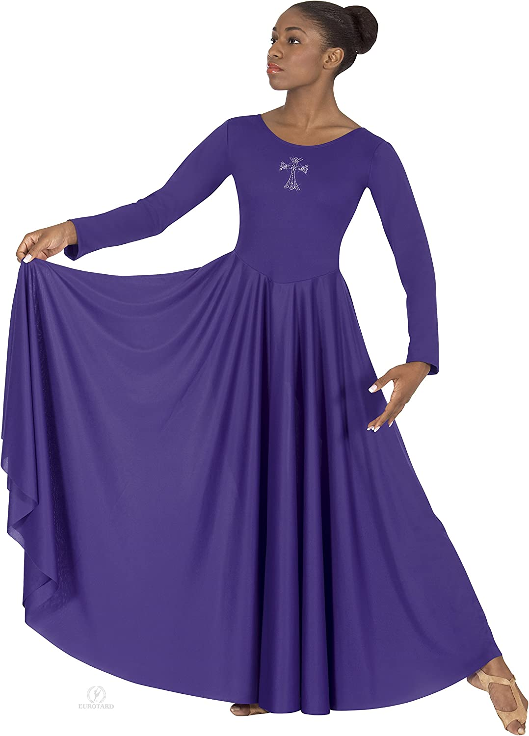 Eurotard 11022 Polyester Adult Dress Al sold out. Cross Rhinestone with Appli Max 75% OFF