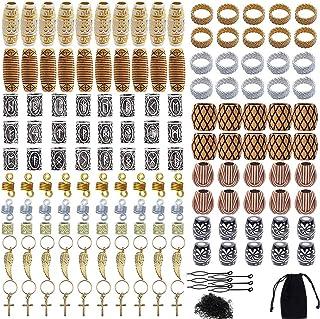 Queta - Set di 300 perline rotonde in gomma per barba vichinga, stile antico fai da te, per capelli, capelli, capelli, sti...