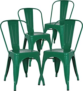 Poly and Bark Trattoria Kitchen and Dining Metal Side Chair in Dark Green (Set of 4)