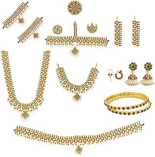 fashionAtelier Women's Bharatanatyam Mango Full Set (10 Items) Multi-Colour