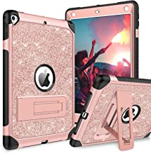 BENTOBEN Case for iPad Air 2/iPad 9.7 2017/2018/Pro 9.7, iPad 5th/6th Generation Case, Glitter 3Layer Full Body Protective Kickstand Durable Leather Shockproof Girls Women Kids Tablet Cover, Rose Gold