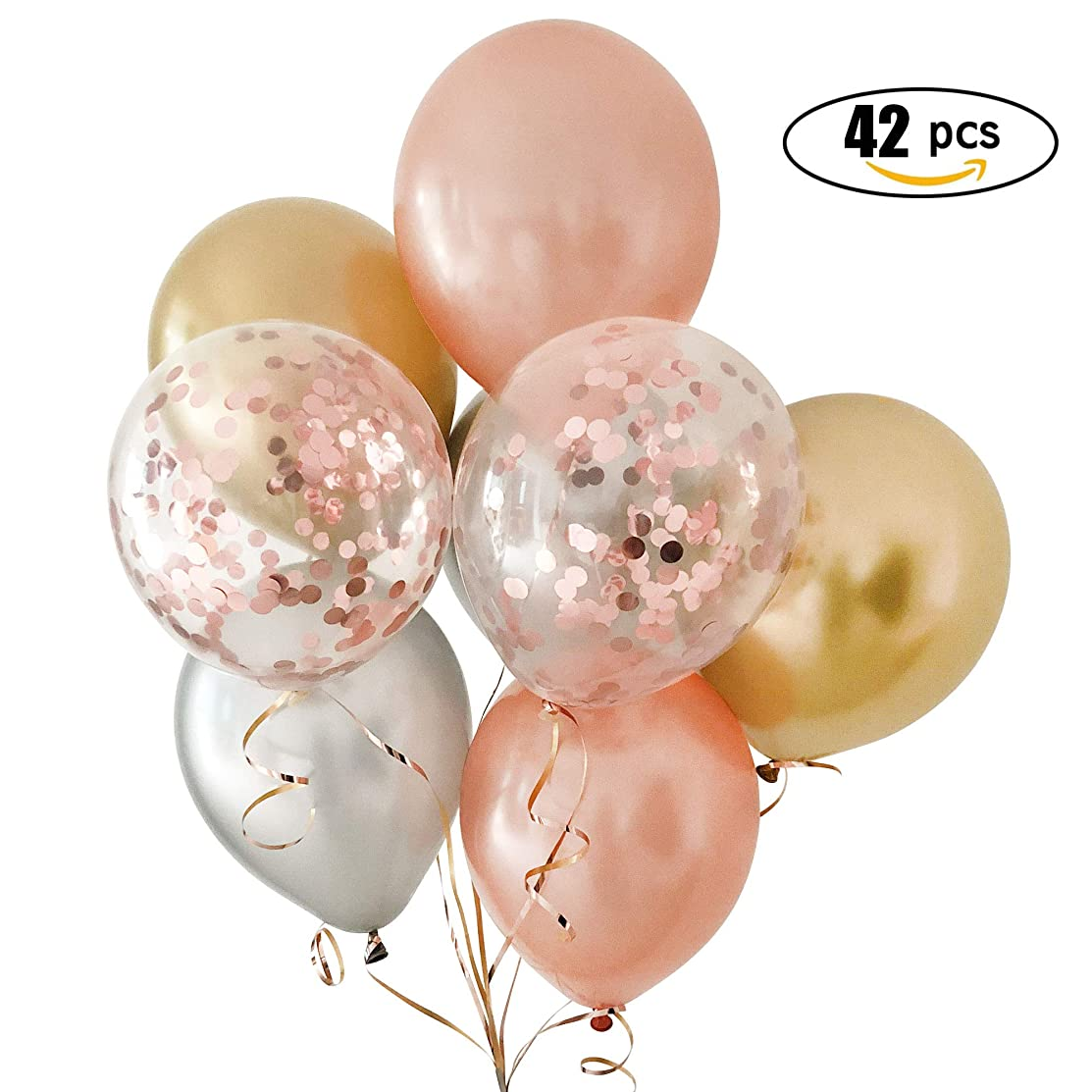 Rose Gold Balloons & Rose Gold Confetti Balloons Gold&Silver Metallic Balloon With Ribbon 42 for Pack -12 inch Premium Latex Balloons & 64ft Ribbon - Rose Gold Party Decorations, Bridal Shower, Baby Shower, Weddings, Bachelorette, Birthday Party