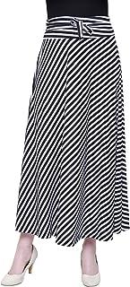 ShopOlica Women's Viscose Striped Skirts Long Casual Skirt
