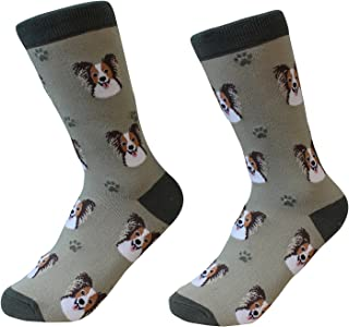 Papillon Dog Breed Socks Unisex Sock Daddy by E&S Pets