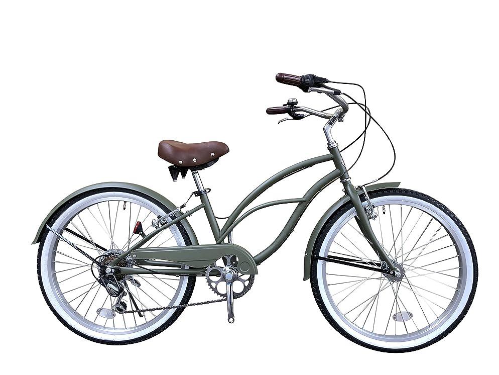 等々登山家バスルーム一勝堂(Isshoudou) ビーチクルーザー 【ビーチクルーザー】ちょうどいいサイズ24インチおしゃれでかわいい自転車 ワイド2.125ホワイトリボンタイヤ、レトロ鋲付きスプリングサドル、大型ハンドル、こだわりの全4色カラーバリエーションビーチでも街中でも通勤、通学、お出かけに大きすぎない最適サイズ、シマノTourney7段グリップシフト付きおしゃれなレトロ自転車 カーキー B1 モスグリーン 24インチ
