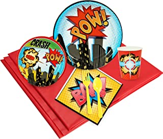 BirthdayExpress Superhero Comics Party Supplies - Party Pack for 16