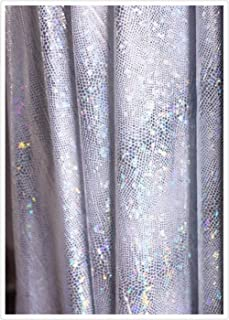 Sparkle silver Glitter Dot Sequins Holographic Laser 4-ways Stretched Spandex Mermaid Scale Fabric snake Stripe