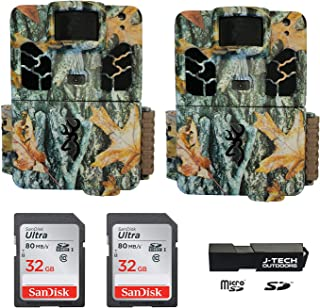 (2) Browning Dark Ops HD Pro X (2019) Trail Game Cameras Bundle Includes 32GB Memory Cards and J-TECH Card Reader (20MP) | BTC6HDPX