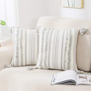 decorUhome Set of 2 Boho Decorative Throw Pillow Covers for Bed Bedroom Neutral Accent Cushion Cover Tufted Woven Pillow C...