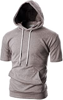 OHOO Mens Slim Fit Short Sleeve Lightweight Hoodie with Kanga Pocket