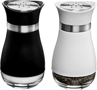 MITBAK Salt and Pepper Shakers (2-Pc. Set) Elegant w/Clear Glass Bottom | Compact Cooking, Kitchen and Dining Room Use | Classic, Refillable Design (BK/White)