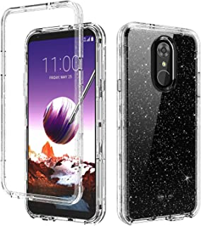 BENTOBEN LG Stylo 4 Case, LG Stylo 4 Plus Case, LG Q Stylus Case, Transparent Heavy Duty Full Body Shockproof 3 in 1 Hard PC Soft TPU Scratch Resistance Protective Phone Cover, Silver Glitter Clear