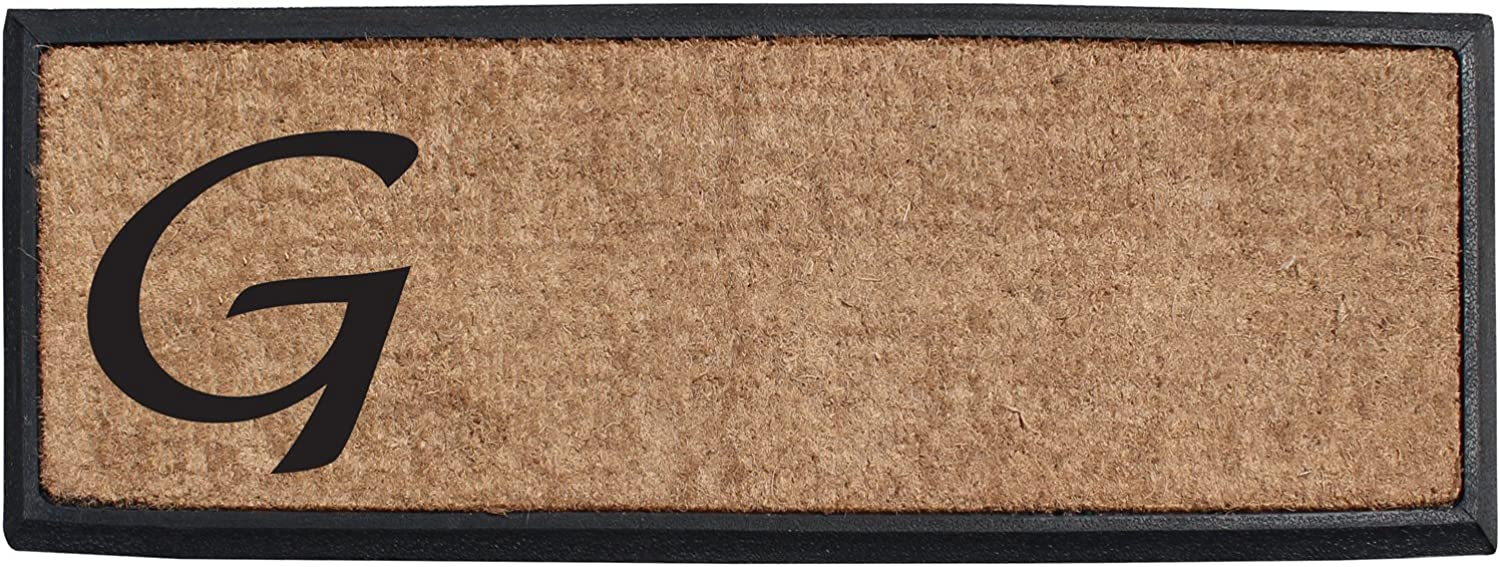 A1 HOME COLLECTIONS First Impression Rubber and Coir Molded Lucida Double Doormat, 16 x48 , Monogrammed G(MULD01-1-G)