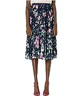 Marchesa Notte - Pleated Printed Burnout Chiffon Skirt
