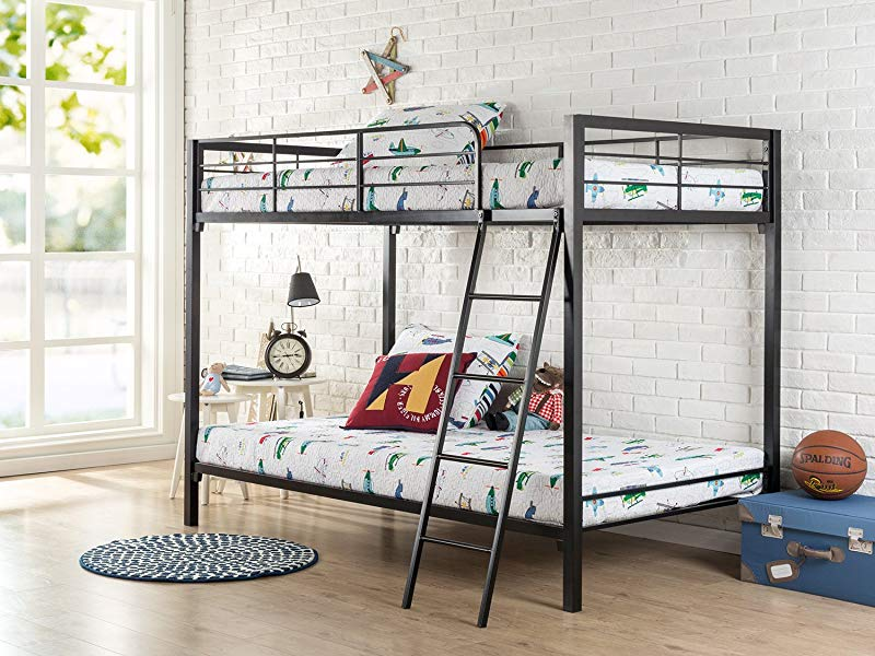 Zinus Patti Easy Assembly Quick Lock Twin Over Twin Metal Bunk Bed Quick To Assemble In Under An Hour