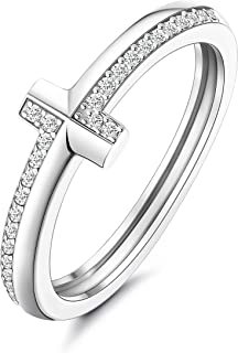 Fiasaso 925 Sterling Silver Cross Rings for Women Men 14K Gold Plated Cross Rings with AAA+ Cubic Zirconia Faith Christian...