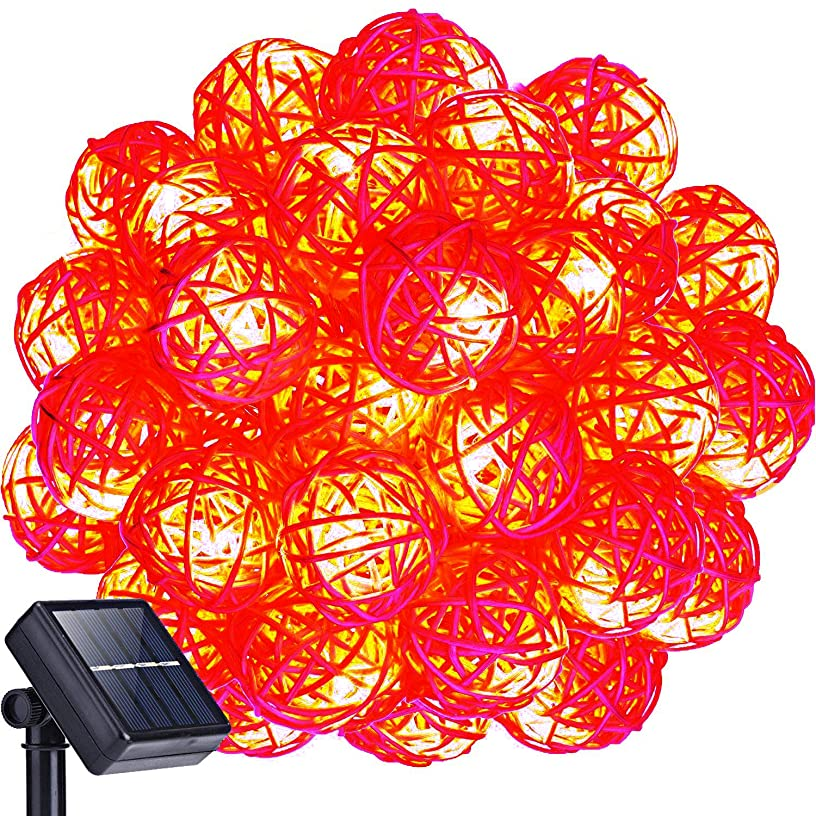 WONFAST Solar Fairy String Lights, 20FT 30LED Globe Rattan Ball String Lights for Outdoor Indoor Christmas Holiday Party Garden Decorations (Red)
