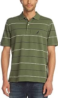 Men's Classic Fit Short Sleeve 100% Cotton Pique Stripe Polo Shirt