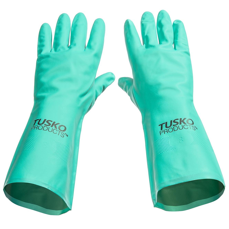 結婚したホステル楽しむTusko Products Vinyl and Latex Free Nitrile Dishwashing Gloves, 15 Mils Thick - Medium by Tusko Products