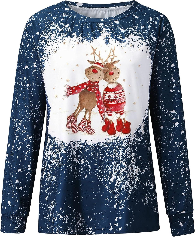 Leirke Womens Cute Christmas Elk Graphic Sweatshirt Cute Bleached Tie Dye Shirts Pullover Casual Long Sleeve O-Neck Tee Tops