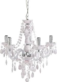comprar comparacion Reality Luster - Lámpara colgante de 5 luces. Necesarias 5 bombillas E14 de máximo 40W excluidas. Cuerpo acrílico blanco.