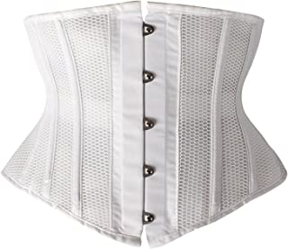 SHAPERX Women Petite Steel Boned Waist Trainer Underbust Corset Short Torso Mesh Body Shaper,SZ1995-White-L