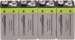 AmazonBasics 9V Cell Rechargeable Batteries 200mAh Ni-MH, 4-Pack