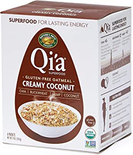 Nature's Path Qi'a Superfood Creamy Coconut Instant Oatmeal, Healthy, Organic & Gluten Free, 8 Pouches per Box, 8 Ounces (Pack of 6)