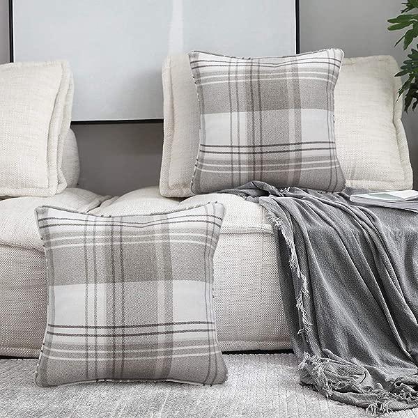 Alexandra Cole Check Tartan Outdoor Throw Pillow Case Cushion Cover For Farmhouse Sofa Set Of 4 18 X 18 Brown