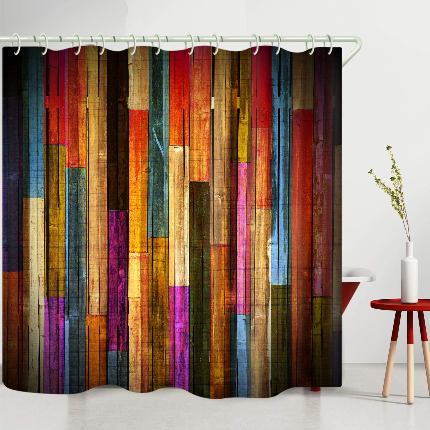 WODEJIA Waterproof Fabric Shower Curtain Liner Paint Wood Print Covered Bathtub Bathroom Curtains Includes 12 Anti Rust Hooks 71 x 72 Inches Multicoloured18 71 x 72 inches