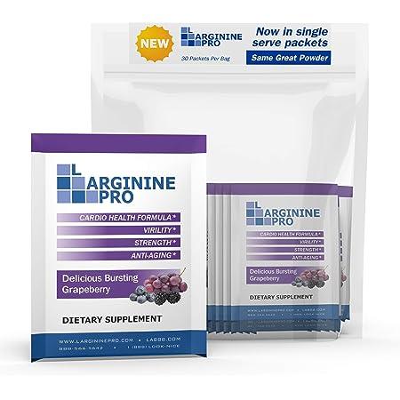 L-arginine Pro Supplement ON-The-GO Single Serve Travel Packets - 5,500mg of L-arginine Plus 1,100mg L-Citrulline (1 Bag (30 Packets), Grapeberry)