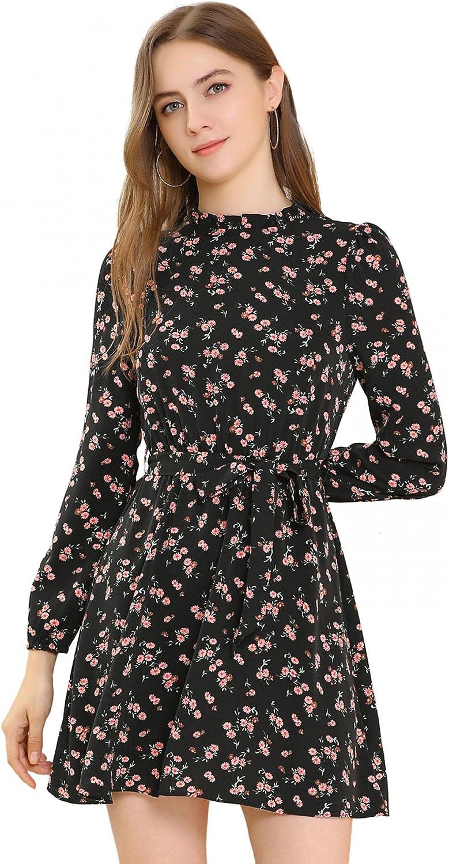 Allegra K Women's Ruffled Trim Collar Long Puff Sleeve Fit & Flare Tie Waist Floral Print Dress